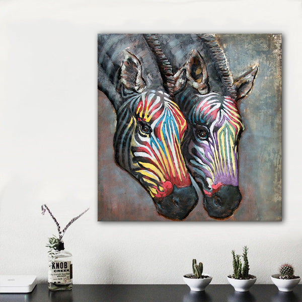 HDARTISAN modern art painting wall art picture abstract colorful zebra print on canvas for home decoration living room no frame