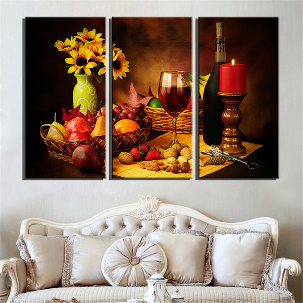 Home Wall Decor Print Painting On Canvas art  3 Panel Reto Abstract Wine Grape Fruit Vintage art For Kitchen Wall Art Picture