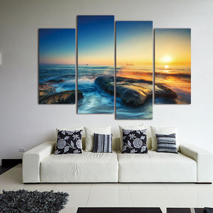 4 pcs Modern Seascape Painting Canvas Art  Sea wave Landscape Wall Picture For Decoration Modular Pictures Unframed