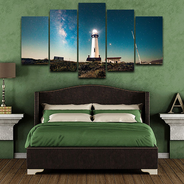 HD Printed Modern Home Decor Canvas Living Room 5 Panel Lighthouse Star Sky Frame Pictures Painting Wall Art Modular Posters