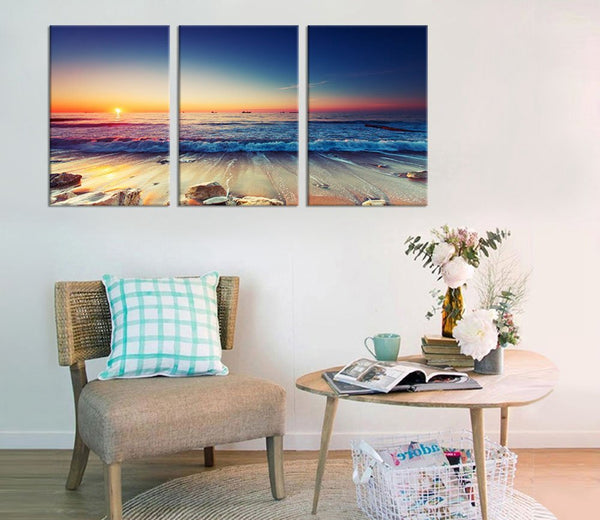 Canvas Art Prints Sunset Sea Beach Poster Canvas Wall Art Nature Picture for Room Wall Decor Large Blue Ocean Home Decoration