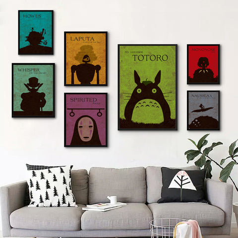 Miyazaki's Classic Japanese Animated Film Collection Canvas Painting Art Print Poster Picture Home Decor Mural