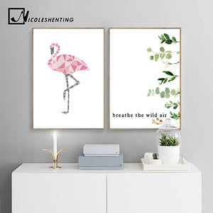Flamingo Watercolor Leaf Poster Quotes Wall Art Canvas Nursery Print Abstract Painting Scandinavian Style Decorative Picture