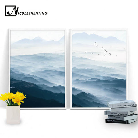 Foggy Mountain Landscape Wall Art Canvas Posters Nordic Style Prints Paintings Wall Picture for Living Room Home Decor