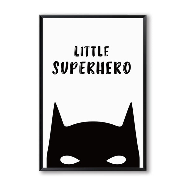 Kawai Batman Super Hero Cartoon Black and White Simple Canvas Painting Art Print Poster Picture Paintings Home Wall Decor