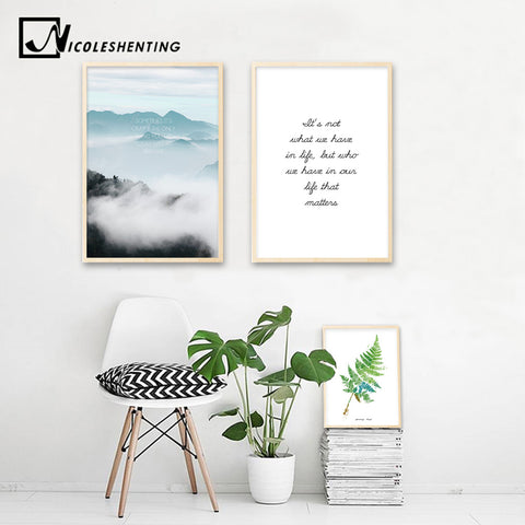 Foggy Mountain Wall Art Canvas Poster Landscape Leaf Nordic Style Print Painting Decorative Picture Modern Home Decor