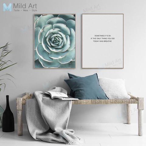 Minimalist Green Succulent Plant Typography Quote Poster Nordic Living Room Wall Art Picture Home Decor Canvas Painting No Frame