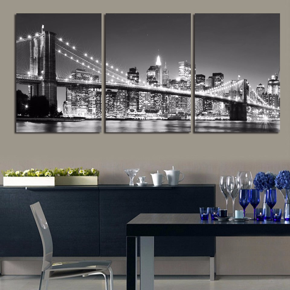 Print Painting Modular Poster 3 Panel New York Brooklyn Bridge Home Deco Vintage Art Canvas Wall Tableau Picture For Living Room