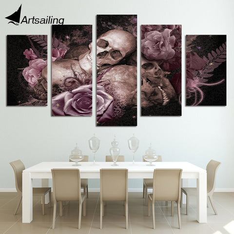 5 Pieces Printed Skull and Roses Paintings Wall Art Canvas Modular Living Room Bedroom Home Decoration Free Shipping ny-2921