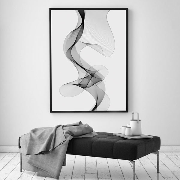 Elegant Poetry Modern Simple Black and White Lines Curve Abstract Canvas Painting Art Print Poster Home Decor Wall Decoration
