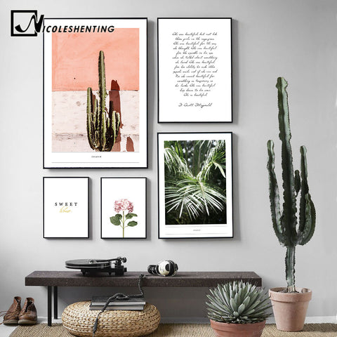 NICOLESHENTING Scandinavia Style Cactus Flower Wall Art canvas Poster Motivational Print Painting Decorative Picture Home Decor