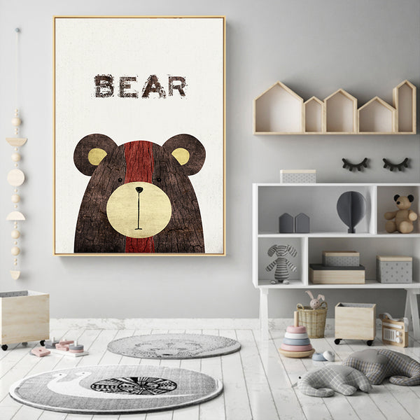 Nordic Minimalist Cute Painting Bud Meng Forest Animal Canvas Painting Art Print Poster Picture Wall Home Decoration Painting