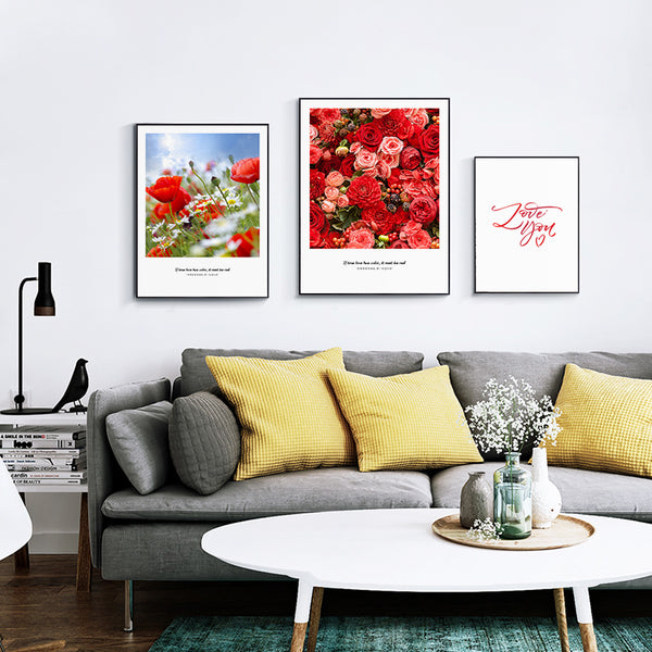 Elegant Poetry Red Roses and Love You Sweet Home Decoration Canvas Painting Art Print Poster Picture Wall Paintings Wall Decor
