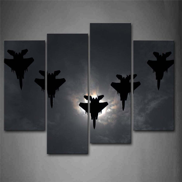 canvas painting picture wall art Warplane Fly Over Cloud And One Have Explode Print On Canvas Aircraft Pictures For Home Decor