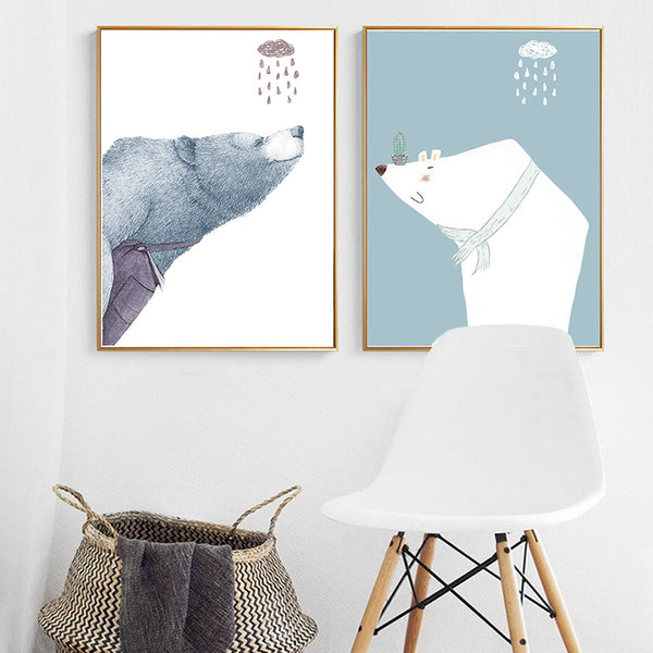 Elegant Poetry Nordic Abstract Bear Leaves Vase Bauble Canvas Painting Art Print Poster Picture Wall Painting Home Bedroom Decor