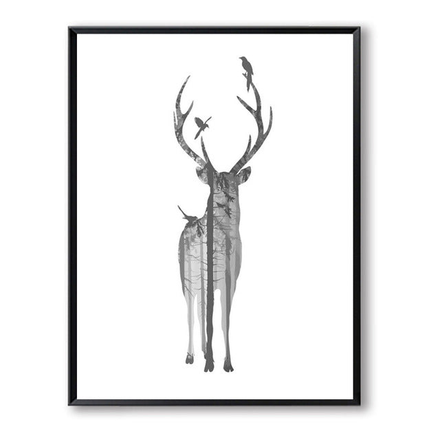 Deer Black And Grey Posters Wall Art Canvas Painting Cuadros Nordic Poster Forest Picture Wall Pictures For Living Room Unframed