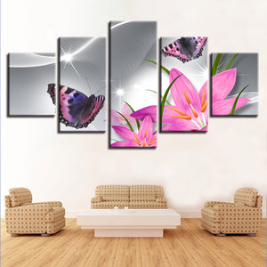 Modular Canvas Paintings Decor Frame Prints 5 Pieces Pink Lilies Flowers And Butterfly Sunshine Scenery Poster Pictures Wall Art