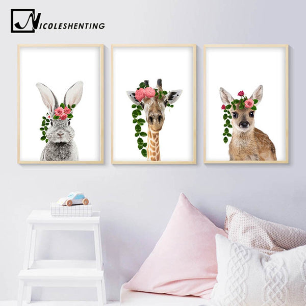 Baby Animal Wall Art Canvas Painting Rabbit Deer Flower Crown Poster Nursery Prints Nordic Kids Decoration Pictures Room Decor