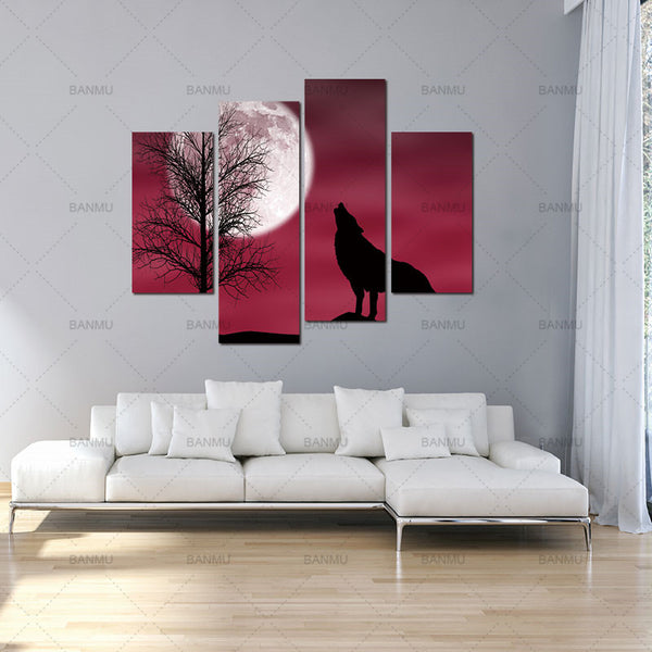 BANMU 4 Panel Wall Art Red Howling Wolf In A Dark Moon Painting Pictures Print On Canvas Animal The Picture For Home Decoration