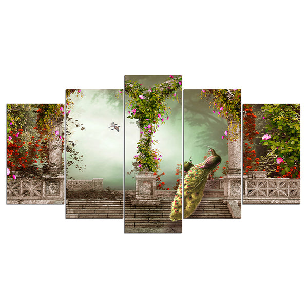 Wall Art Canvas Printed Pictures 5 Pieces Peacock Couple Paintings Romantic Vintage Building Modular Poster Home Decor Framework