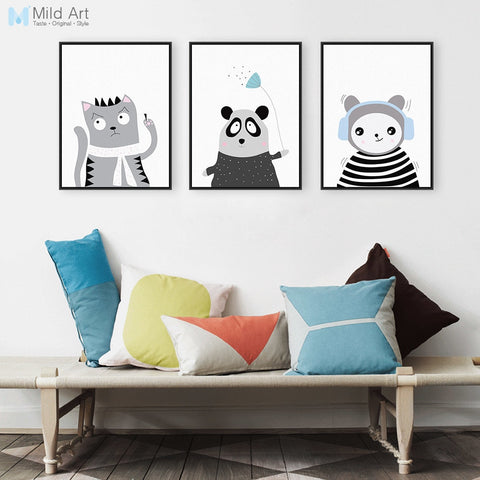 Modern Hipster Animals Panda Cat Poster Print Nordic Nursery Kids Baby Room Wall Art Pictures Home Deco Canvas Painting No Frame