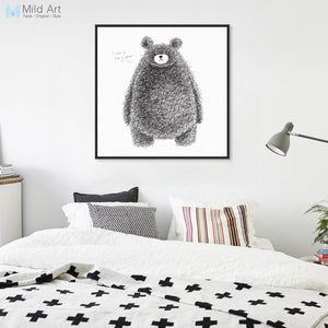 Minimalist Black White Kawaii Animal Bear Posters Prints Nordic Kids Room Wall Art Pictures Home Decor Canvas Painting No Frame
