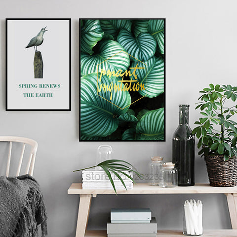 Green Turtle Leaf Poster Bird Picture Cuadros Decoracion Home Wall Art Canvas Painting Nordic Poster Plants Wall Decor Unframed