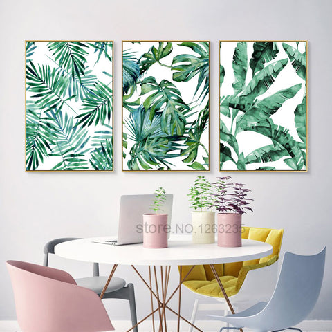 Green Plants Turtle Leaf Wall Art Canvas Painting Cuadros Posters Nordic Poster Picture Wall Pictures For Living Room Unframed