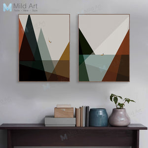 Modern Abstract Minimalist Mountain Sea Posters and Prints Vintage Retro Wall Art Picture Nordic Room Home Deco Canvas Painting
