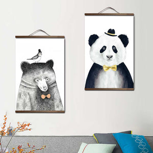 Niedliche lion panda fox Bear wood hanging scroll Poster Nordic canvas painting posters and prints child living room Home Decor