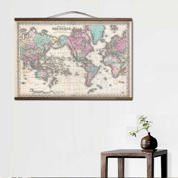 Old vintage map of the world canvas painting art posters and prints with solid wood hanging scroll wall pictures for living room