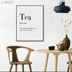 Minimalist Typography Food Coffee Tea Quotes Posters Print Nordic Style Cafe Kitchen Wall Art Picture Home Decor Canvas Painting
