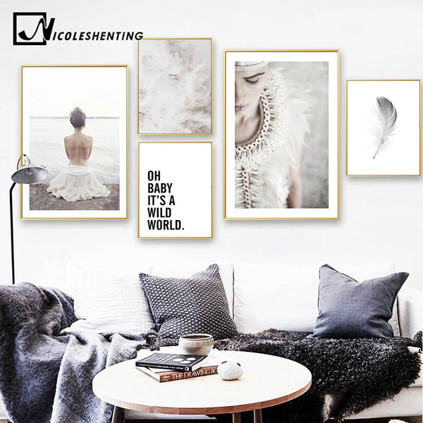 Nordic Style Art Canvas Painting Realist Girl Feather Poster Print Scandinavian Wall Picture for Living Room Modern Home Decor