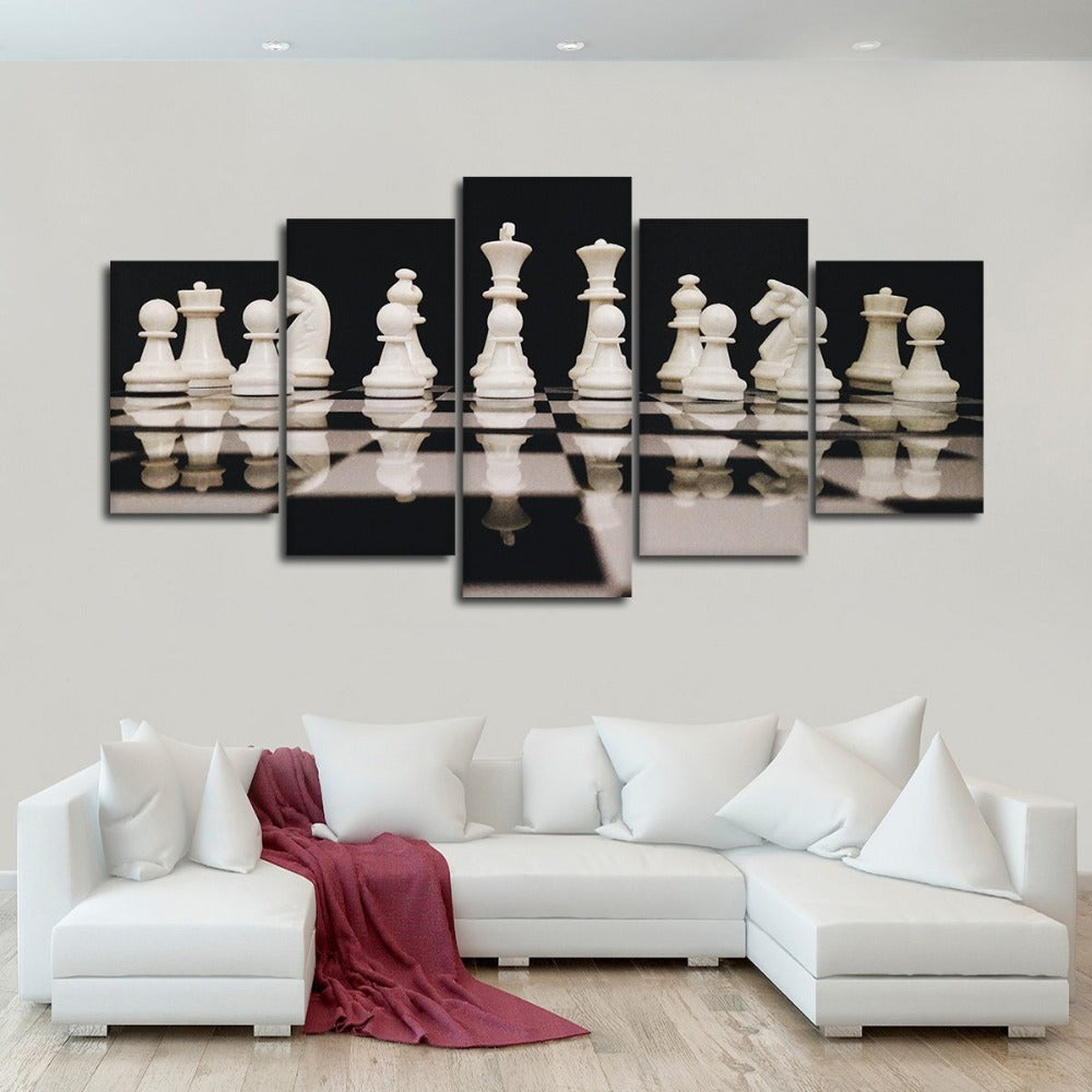 Modular Prints Poster Canvas Painting Artwork 5 Pieces Black And White Chess Pictures Wall Art Modern Living Room HD Frame Decor