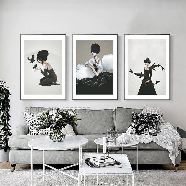 Posters And Prints Nordic Poster Black And White Abstract Woman Wall Art Canvas Painting Wall Pictures For Living Room Unframed