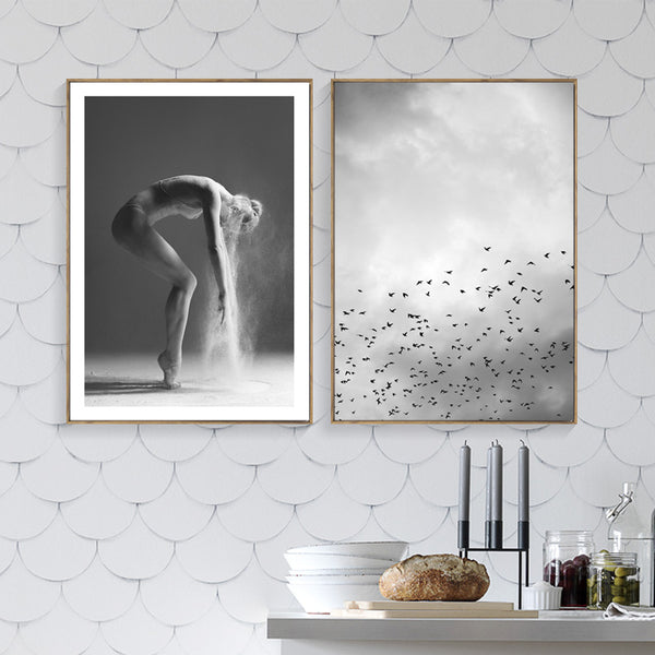 Dancing Girl Nordic Poster Cuadros Feather Posters And Prints Wall Art Canvas Painting Wall Pictures For Living Room Unframed