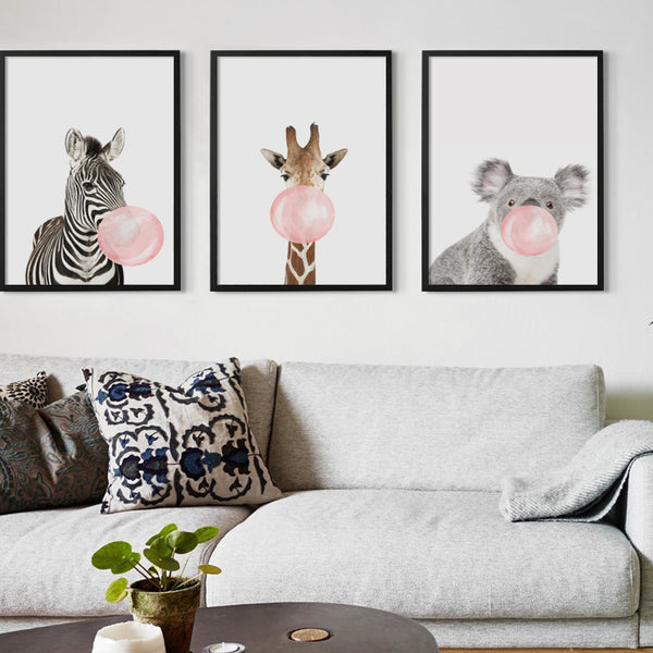 Bubble Chewing Gum Giraffe Zebra Animal Posters   Canvas Art Painting Wall Art Nursery Decorative Picture Nordic Style Kids Deco
