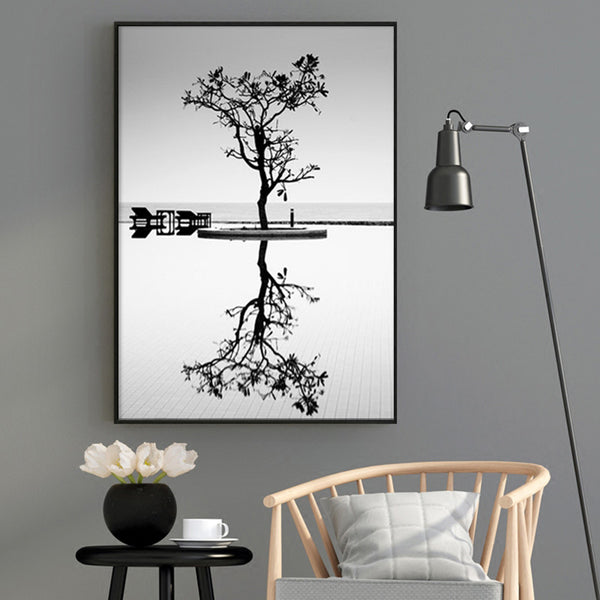 Tree In Water Landscape Nordic Poster Posters And Prints Wall Pictures For Living Room Picture Wall Art Canvas Painting Unframed