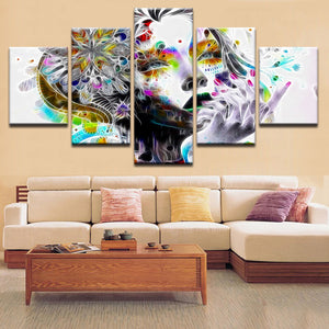 HD Prints Modular Pictures For Bedroom Psychedelic Girl With Flower Canvas Paintings Living Room Home Wall Art Decoration