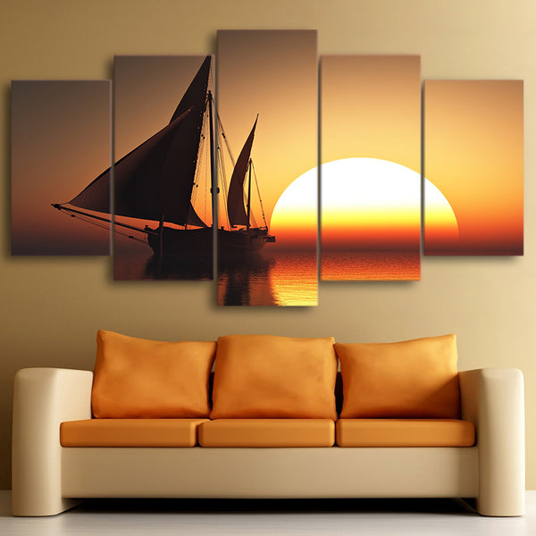 Modular Pictures Modern Canvas Framework HD Printed 5 Piece/Pcs Sun Sea Ship Scenery Home Decor Living Room Wall Art Painting