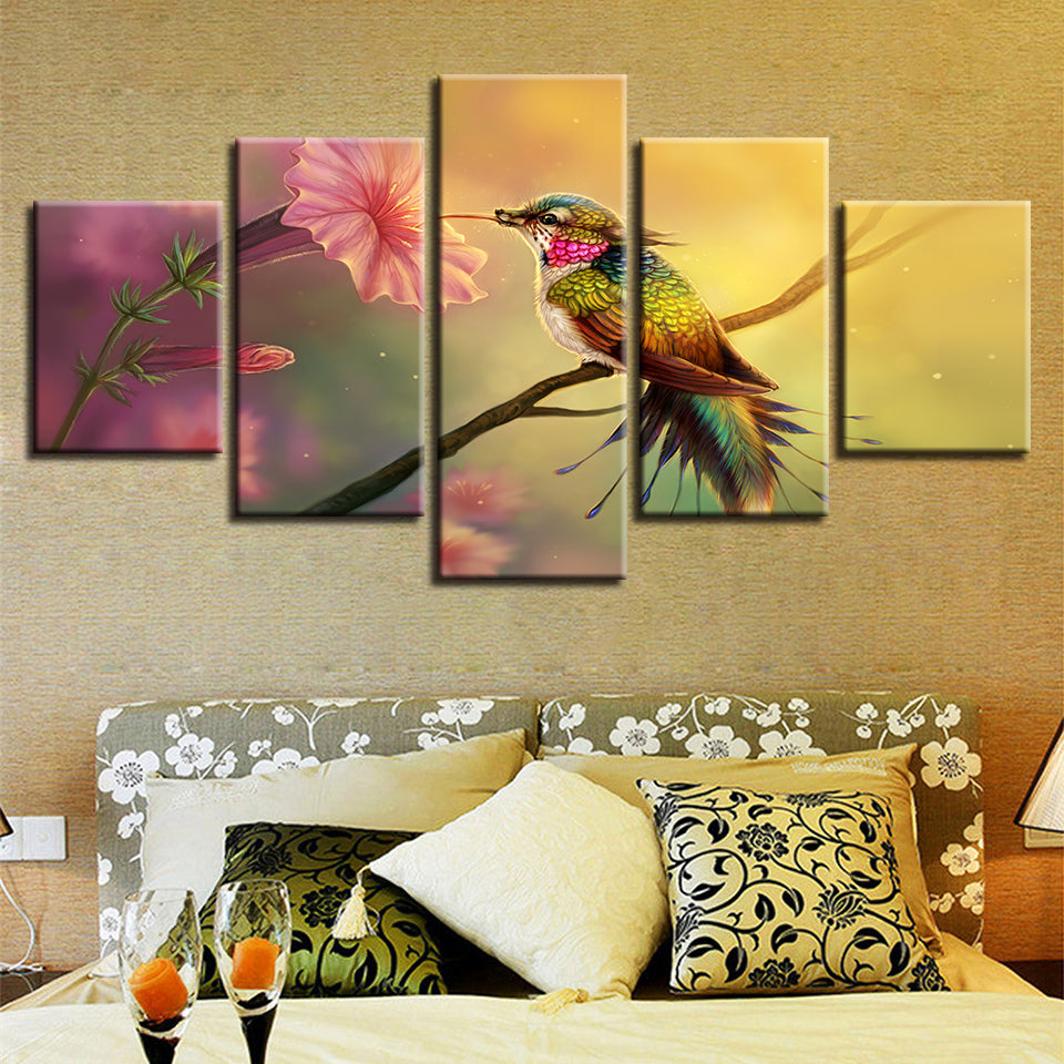 HD Prints Posters Modular Canvas Painting 5 Pieces Flower And Parrot Standing On The Branch Scenery Art Picture Decor Wall Frame