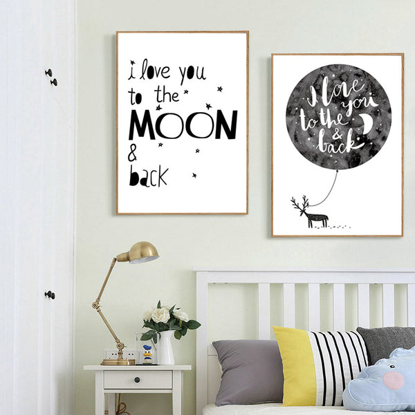 Moon Nordic Poster Cuadros Nordic Style Kids Decoration Cartoon Wall Art Canvas Painting Wall Pictures For Living Room Unframed