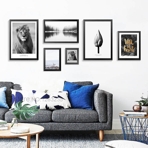 Modern Lion Animal Nordic Poster Lotus Wall Art Canvas Painting Wall Pictures For Living Room Posters And Prints Unframed