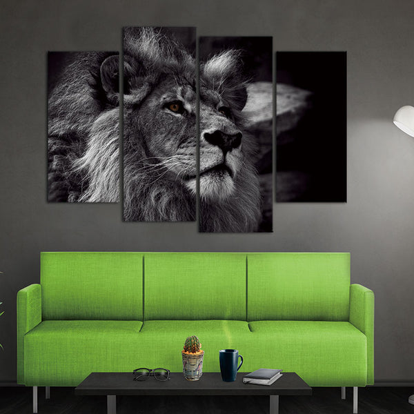 Canvas painting Lion Head  Wall Art Painting Black And White Gray Pictures Print On Canvas 4 Panels Modern Animal Picture
