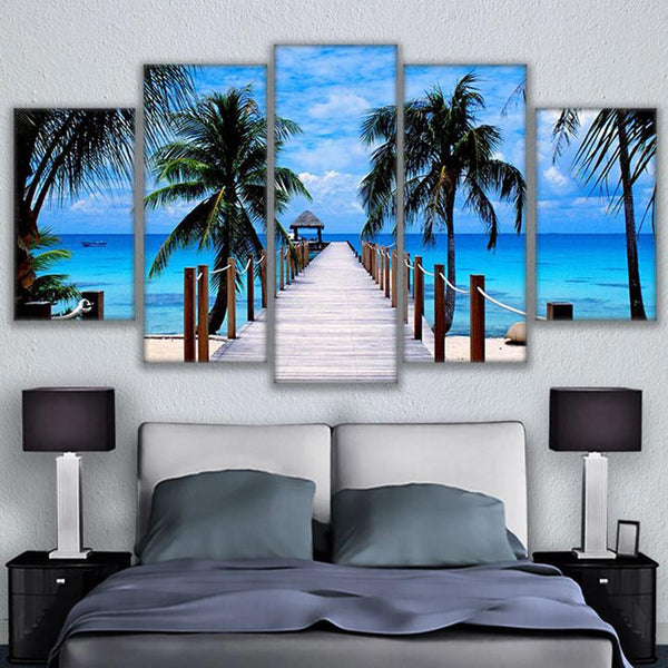 Canvas Painting Home  Framework Picture 5 Panel Bali Elephant Park Landscape Poster