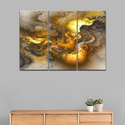3 Panels Golden Abstract Canvas Wall Art Modular Canvas Painting for Home Decorations Psychedelic Art Space Cloud Art Wall Decor