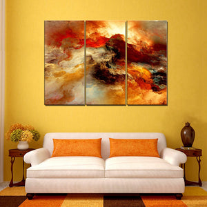 Red Dusk Abstract Canvas Wall Art 3 Pieces Landscape Psychedelic Art Space Cloud Poster Art Print Canvas Painting for Home Decor
