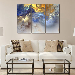 Golden Cloudy Landscape Wall Art 3 Panels Abstract Psychedelic Art Space Cloud Canvas Painting for Home Decorations Wall Decor