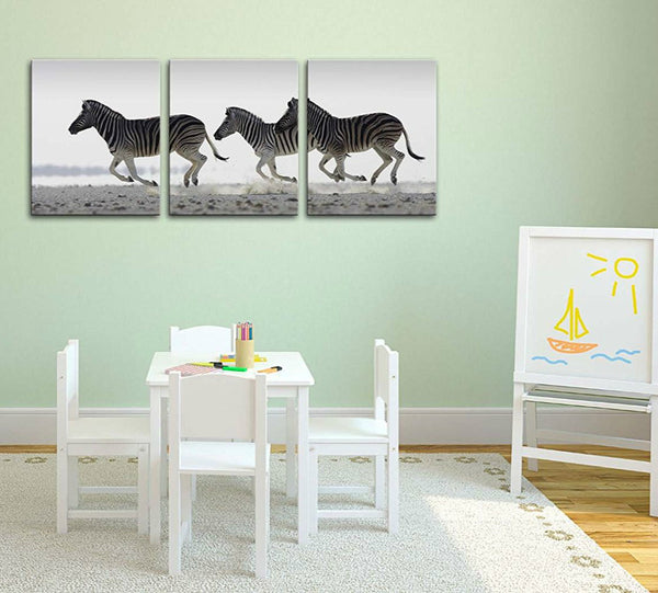 Canvas Print Wall Art Painting Tropical Running Zebra Black And White South Africa 3 Panel Modern Artwork Picture Animal Photo