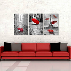 Red Umbrellas Flying on the Rain Wall Decor Paris Tower 3 Panels Canvas Prints Wall Art Home Decor Black and White Landscape